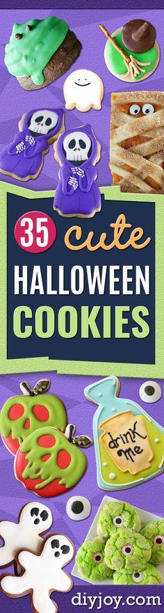 Cute Halloween Cookies - Easy Recipes and Cookie Tutorials for Making Quick Halloween Treats - Spooky DIY Decorated Ghosts, Pumpkins, Bats, No Bake, Spiders and Spiderwebs, Tombstones and Healthy Options, Kids and Teens  Cookies for School http://diyjoy.com/halloween-cookies-ideas