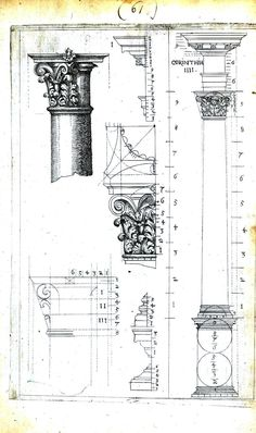 Vintage Printable (Use for all types of work, free) - Design - Archicture - Drawing - Columns,Corinthian. Classic Architecture, Gothic Architecture, Historical Architecture, Ancient Architecture, Architecture Details, Architectural Prints, Architectural Elements, Portal, Technical Drawing