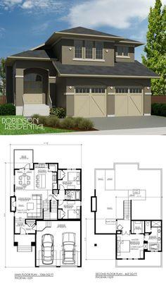 1529 sq, ft, 3 bedroom, 2 bath Master over garage 36 wide Plan Duplex, Duplex House Plans, Dream House Plans, Contemporary House Plans, Modern House Plans, Small House Plans, Vintage House Plans, House Blueprints, Sims House