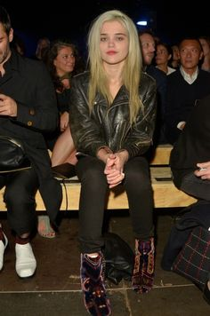 Front Row, Singer Sky Ferreira at @ysl Saint Laurent Paris show, wearing Vintage biker jacket and Maison Martin Margiela boots. Pic by Fabrizzio Morales-Angulo @fabrizzioma