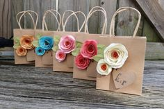 Items similar to Kraft gift bags. Shabby chic. Paper flowers. Gift bags. YOUR COLORS. on Etsy