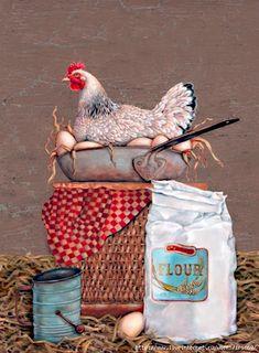 Decoupage Creative workshop of Tatyana Kuksenko. Decoupage Vintage, Vintage Crafts, Vintage Paper, Decoupage Art, Chicken Painting, Chicken Art, Fried Chicken, Vintage Labels, Vintage Posters