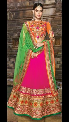 Pink and Majenta color family Bridal Lehenga,Mehendi & Sangeet Lehenga . Indian Bridal Lehenga, Indian Bridal Wear, Indian Wedding Outfits, Indian Wear, Indian Outfits, Eid Outfits, Bride Indian, Pakistani Bridal, Pakistani Dresses