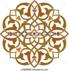 Brown, green and orange leaf pattern Arabesque Design View Large Clip Art Graphic