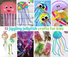 12 jiggling jellyfish crafts for kids Jellyfish Crafts, Paper Plate Jellyfish, Ocean Crafts, Recycled Cds, Recycled Crafts, Crafts To Make, Crafts For Kids, Arts And Crafts, Paper Plate Crafts