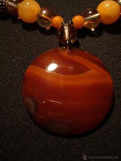 Collar compuesto por Gran Agata Cornalina de 37 MM, Natural de Bello Color. (Carnelian) - c70 - Foto 1