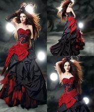 2016 New Fashion Red Black Wedding Dresses Taffeta Gothic Halloween Bridal Gowns Cheap Bridal Dresses, Black Wedding Dresses, Cheap Wedding Dress, Lace Wedding Dress, Designer Wedding Dresses, Cheap Dress, Wedding Veil, Free Wedding, Wedding Book