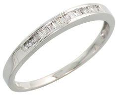 "($176.90) 14k White Gold Fancy Ladies' Diamond Band, w/ 0.20 Carat Baguette Diamonds, 1/16"" (2mm) wide, size 6   From Gabriella Gold"