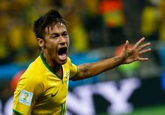 Brazil's Neymar celebrates a goal in the World Cup opener against Croatia