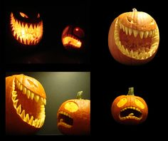 AAAHHHHHHHH by QubixDesign on DeviantArt I wanted to try and make a scene and not just a stand alone pumpkin. I left some carvings in the big guys mouth to maybe make it look like he had been eating other little pumpkins before. Guess I c. Scary Pumpkin Carving, Halloween Pumpkin Carving Stencils, Halloween Pumpkin Designs, Scary Halloween Pumpkins, Scary Halloween Decorations, Halloween Crafts, Creepy Pumpkin, Evil Pumpkin, Pumpkin Carving Patterns