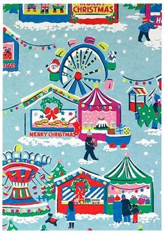 This holiday season Cath Kidston have gone for a Christmas Fair theme. In typical retro style you can find Christmas cards, wrapping pape. Retro Christmas, Vintage Christmas Cards, Christmas Art, Christmas Quotes, Christmas Nails, Christmas Wreaths, Cath Kidston Wallpaper, Cath Kidston Christmas, Xmas 2015