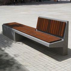 Banco para espaço público / contemporâneo / em madeira / em concreto armado EQUAL by Pepe Gascón Escofet