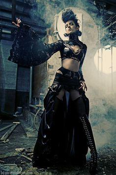 Nice mash-up of styles, #Steampunk, #Goth, #punk, Scifidelic Burlesque. you name it