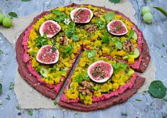 Vegan Gluten free  Pizza with quinoa and beet crust and chickpea flour scramble