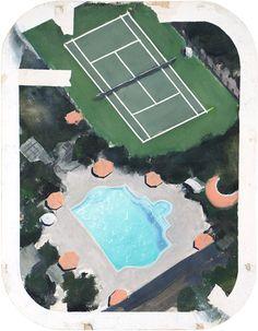 sunset blvd #3 - Airco Caravan Caravan, Oil On Canvas, Swimming Pools, Sunset, Outdoor Decor, Artist, Painting, Swiming Pool, Pools