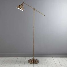 Add additional and practical lighting to your living space with our stylish adjustable antique brass floor lamp, featuring a lever arm so you can place the ligh. Antique Brass Floor Lamp, Gold Floor Lamp, Industrial Floor Lamps, Swing Arm Floor Lamp, Brass Lamp, Cool Floor Lamps, Floor Lamp Makeover, Farmhouse Floor Lamps, Lampe Tube