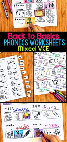 Do your first grade students need some extra practice on their word work skills? These phonics worksheets for VCE words offer a variety of reading, writing, and spelling activities for your literacy centers or small group reading stations. Students practice using silent e in with these engaging and fun printable phonics activities. #firstgradereading #earlyreading #phonicsworksheets Digraphs Worksheets, Blends Worksheets, Social Studies Worksheets, Kindergarten Worksheets, Free Worksheets, Magic E Words, Cvce Words, Reading Stations, Spelling Activities