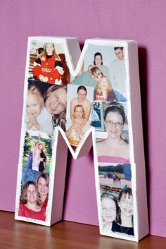 A Mod Podge DIY Photo Letter - Perfect for party decorations, like a graduation party, photo prop, or room decor for a teen! {The Love Nerds}