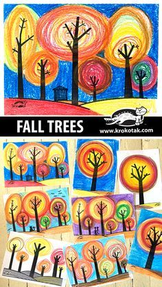fall trees kids crafts Fall Art Projects, Art Projects For Adults, School Art Projects, Halloween Art Projects, Thanksgiving Art Projects, Art Education Projects, Art Education Lessons, Halloween Painting, Halloween Drawings
