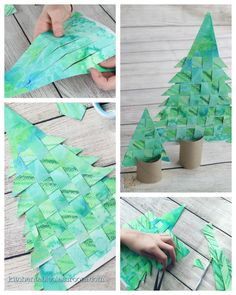 This easy woven paper Christmas tree craft can be made from recycled artwork. Reinforce basic weaving skills with beautiful holiday results! This easy woven paper.Use old recycled artwork to create this woven paper Christmas tree craft. Mini Christmas Tree, Christmas Crafts For Kids, Christmas Activities, Christmas Projects, Christmas Tree Decorations, Holiday Crafts, Christmas Kitchen, Winter Art Projects, Xmas Trees
