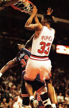Scottie Pippen dunks on Patrick Ewing- 1991 NBA Playoffs