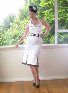 1950s Pin up White Wiggle Halterneck Wedding Dress by PixiePocket, $190.00