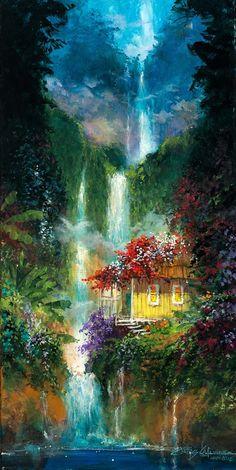"""Hawaiian Shangri-La"" Fantasy Art by former Disney artist, James Coleman size 24 Fantasy Paintings, Landscape Paintings, Fantasy Art, Blue Flower Wallpaper, Singapore Art, Waterfall Paintings, Hawaiian Art, Simple Acrylic Paintings, Beginner Painting"