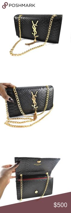 Monogram Saint Laurent Black Crocodile Clutch Polished black crocodile clutch with red leather lining and oversized gold monogram and chains. Fine, high quality replica for women who want that luxury polished look for a fraction of the original price. Duster bag included. YSL Inspired Bags Clutches & Wristlets