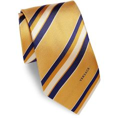 Versace Striped Silk Tie (3.410 RUB) ❤ liked on Polyvore featuring men's fashion, men's accessories, men's neckwear, ties, mens navy tie, mens ties, mens silk ties, mens yellow tie and mens striped ties
