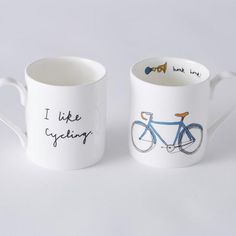I Like Cycling Blue Bike Mug: This quirky 'I Like Cycling' bone china mug started life as hand drawn illustration, which has then been individually applied by transfer. Created by Alison Shields in her Bristol studio.