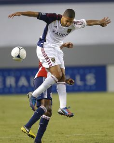 Sabo!   Real Salt Lake's Alvaro Saborio jumps to head the ball in the first half of an MLS soccer game against the Chivas USA in Carson, Calif., Saturday, Sept. 29, 2012. (AP Photo/Jae C. Hong)