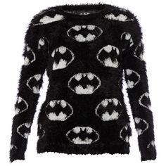 Eleven Paris Batman Logo fluffy pullover ❤ liked on Polyvore featuring tops, sweaters, elevenparis, black sweater, black pullover, black pullover sweater and black top
