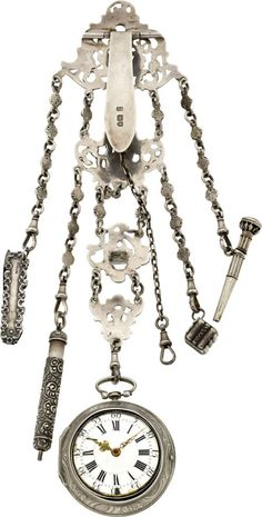 An. Landwing Augsburg Silver Repousse Verge With Chatelaine, circa 1780.