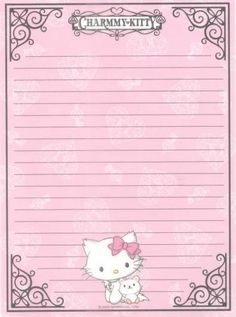 Papéis de Carta para Imprimir - Lindos Modelos de Flores, Hello Kitty