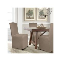 Serta Reversible Stretch Suede Dining Chair Slipcover, Brown