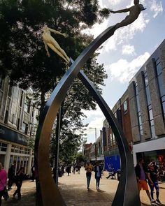 Monument to Francis Crick, who discovered the Double Helix.