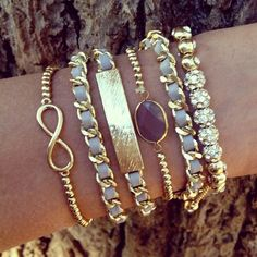 lavender and gold layering bracelets