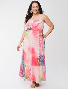 Chiffon ruffled maxi dress by Lane Bryant | Lane Bryant