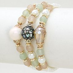 Freshwater pearl, Sage and Aspen Agate mixed with Soft Crystals and Nacre Shell. Wear as a Bracelet or a Necklace.