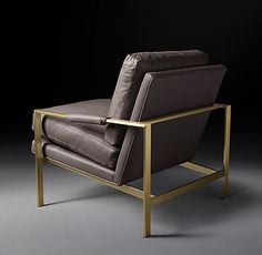 Restoration Hardware - Milo Baughman Model Leather Chair 1966 Italian Roma Graphite Leather with Satin Brass finish x x French Industrial, Industrial Style, Luxe Decor, Milo Baughman, Restoration Hardware, News Design, Home Furnishings, Luxury Homes, Armchair