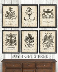 6 Set Heraldry Coat of Arms art prints Classic 18th century family crests. Choose from 3 sizes. Coat of Arms prints -Buy 4 get 2 FREE!