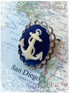 US Navy pride Navy and white Anchor Ring by Son and by sonandsea, $16.00