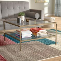 Hashtag Home Couchtisch Capel Mirrored Coffee Tables, Cool Coffee Tables, Mirrored Table, Living Room Furniture, Diy Furniture, Furniture Makeover, Wall Mount Electric Fireplace, Coffee Table Wayfair, Upholstered Arm Chair