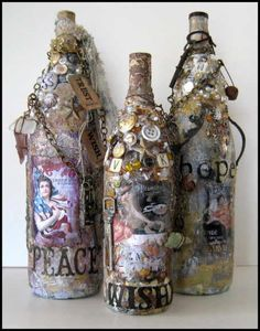 altered bottles 2014   These bottles along with bottle dolls-taught here at the FAMM website-