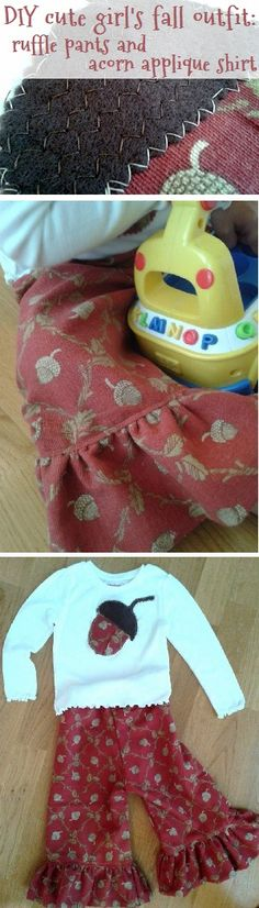 little girl clothes: cute DIY 5-min fall top & easy DIY ruffle pants, free tutorial links