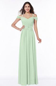 Pale Green Bridesmaid Dress - Gorgeous A-line Off-the-Shoulder Short Sleeve Chiffon Plus Size Maxi