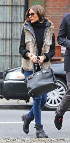- Velvet fur vest w/ black underneath, dark denim blue jeans & black boots!