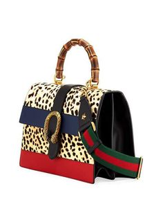 Gucci Dionysus Large Bamboo Top-Handle Bag in Leopard Calf Hair f22575bf2f0df