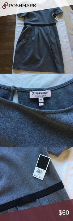 Brand new Juicy Couture bow dress New w tags Juicy Couture grey bow dress - stretchy & comfortable!  Size xs but would also work for a small Juicy Couture Dresses