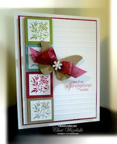 "I like the repetition of the flowery stamp in different colors. If the card is an A2 size (5.5 x 4.25), the small white mats would be inchies and the colored mats 1.25"" squares. The horizontal lines can be made with a Scor-Pal. I might prefer an airier butterfly -- will need to experiment to see."